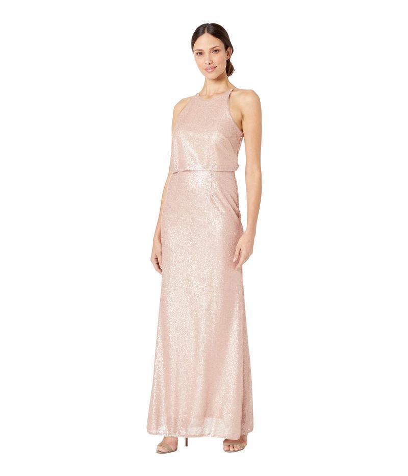アドリアナ パペル レディース ワンピース トップス Sequin Halter Popover Modified Mermaid Evening Gown Blush