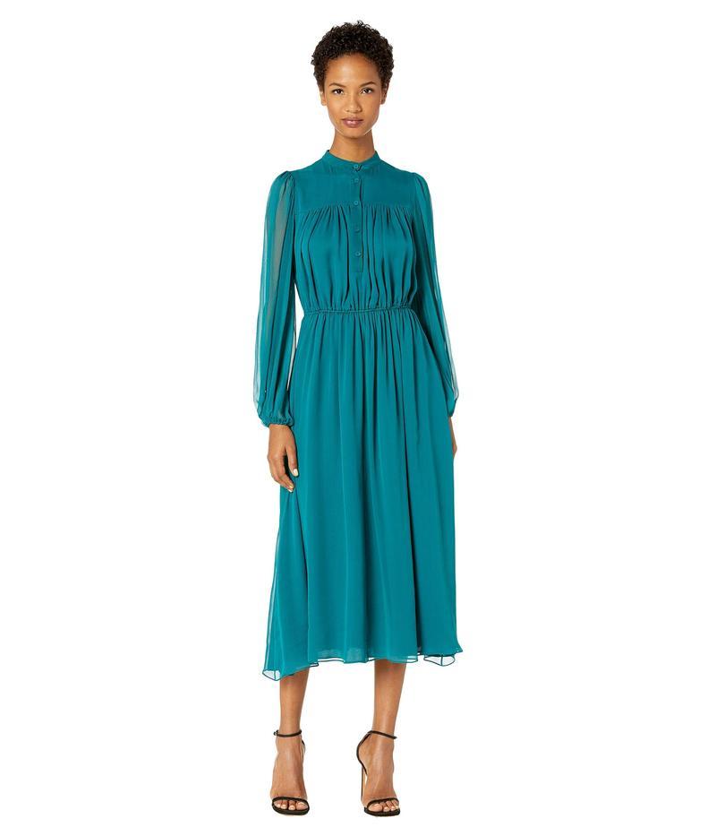アダム リピズ レディース ワンピース トップス Silk Chiffon Long Sleeve Dress w/ Elastic Waist Peacock