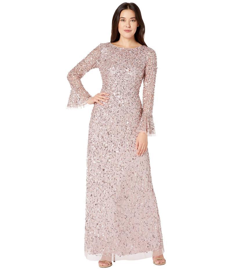 アドリアナ パペル レディース ワンピース トップス Beaded Evening Gown with Bell Sleeves Cameo