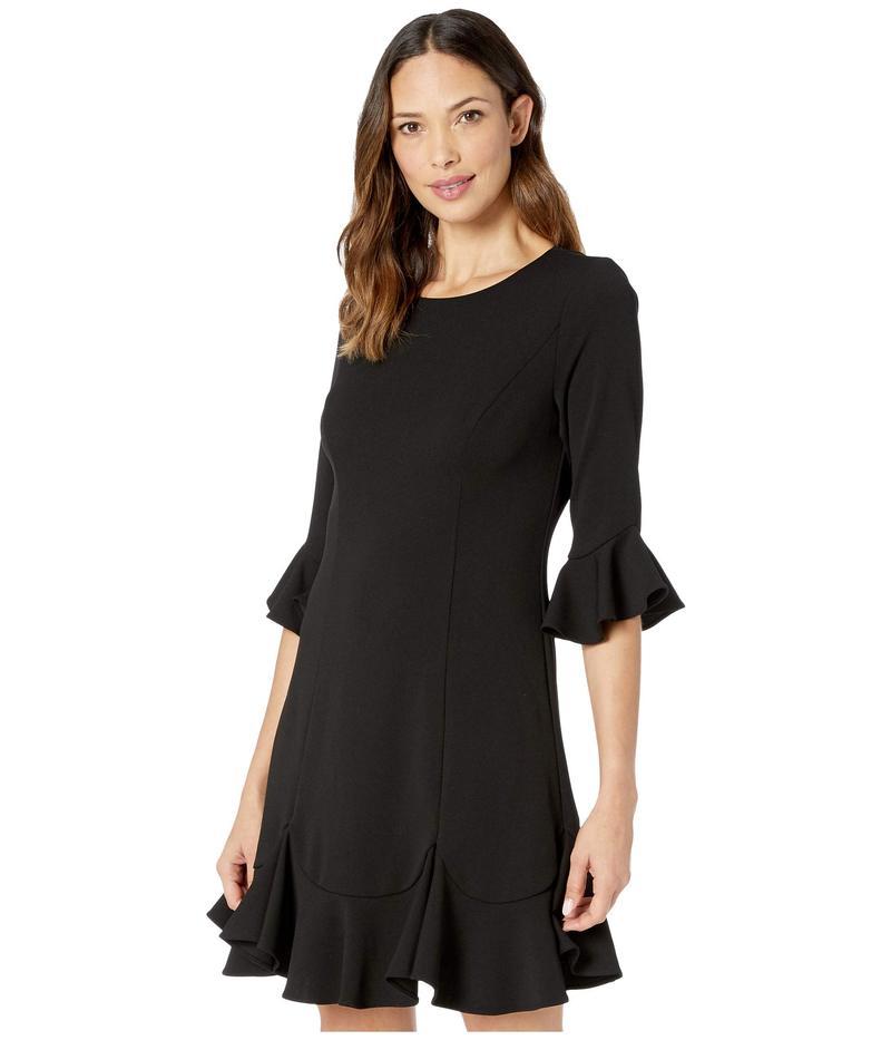 アドリアナ パペル レディース ワンピース トップス Knit Crepe Ruffled Shift Dress Black