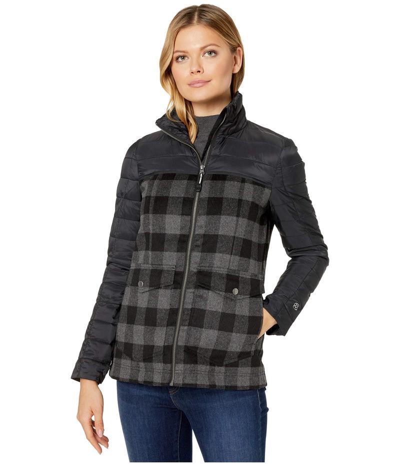 ローパー レディース コート アウター 4043 Nylon and Wool Plaid Combo Jacket Black