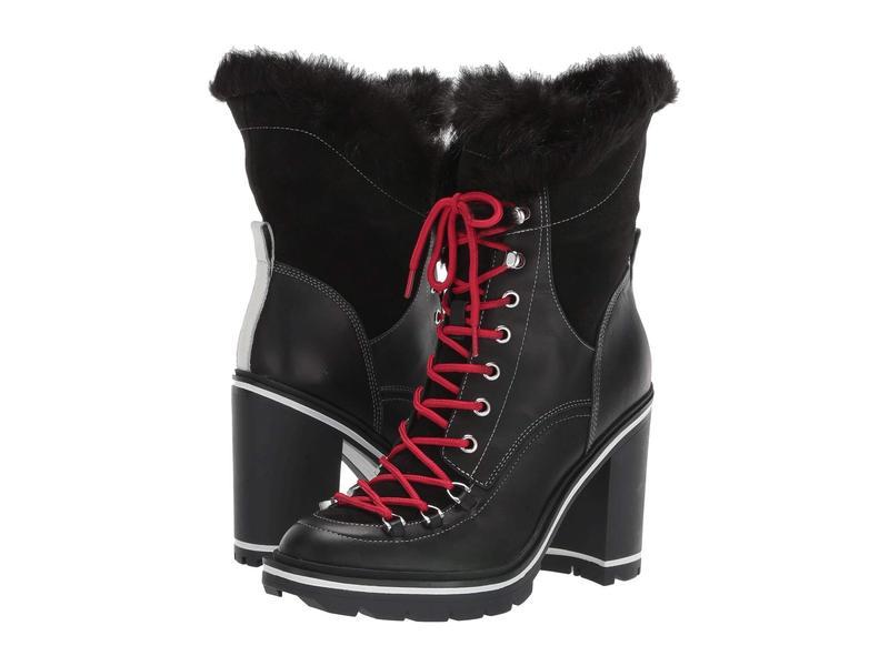 シガーソン モリソン レディース ブーツ・レインブーツ シューズ Odelia Black Leather/Faux Fur