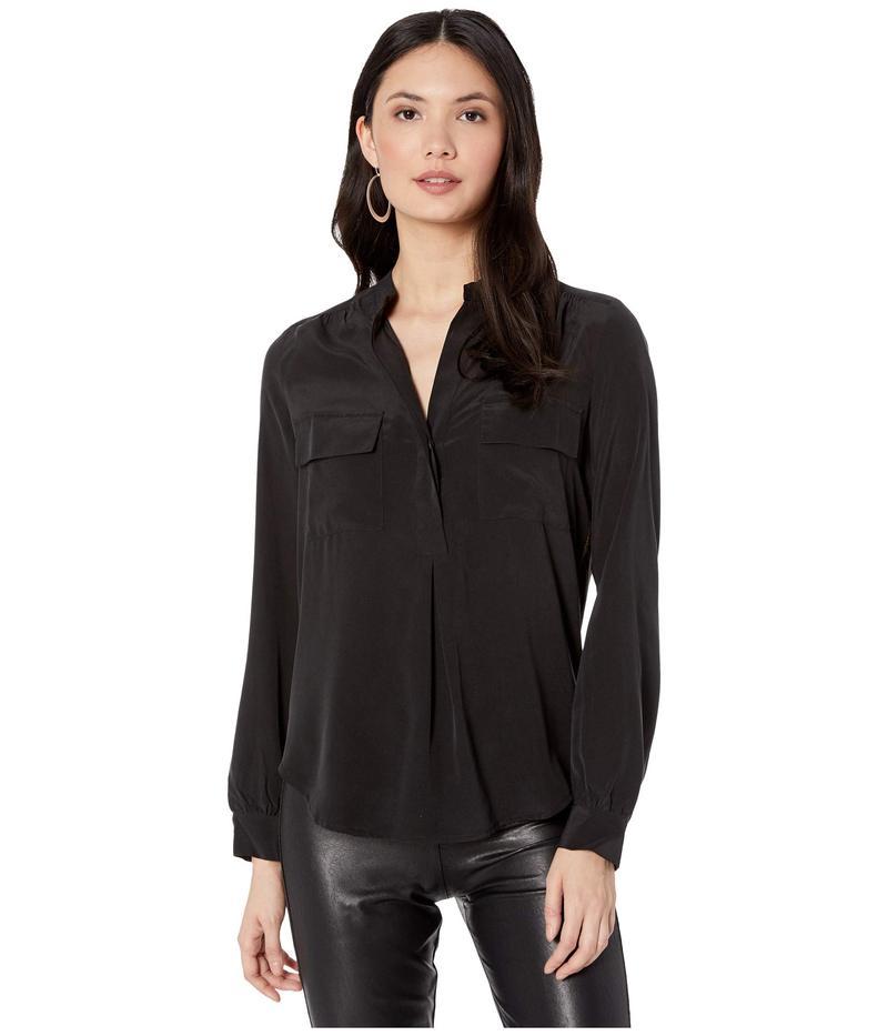 スプレンディット レディース シャツ トップス Silk Mix Media Button Up Blouse Black