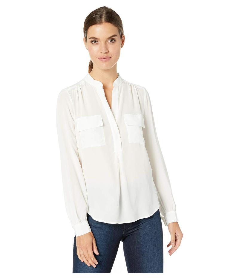 スプレンディット レディース シャツ トップス Silk Mix Media Button Up Blouse Off-White