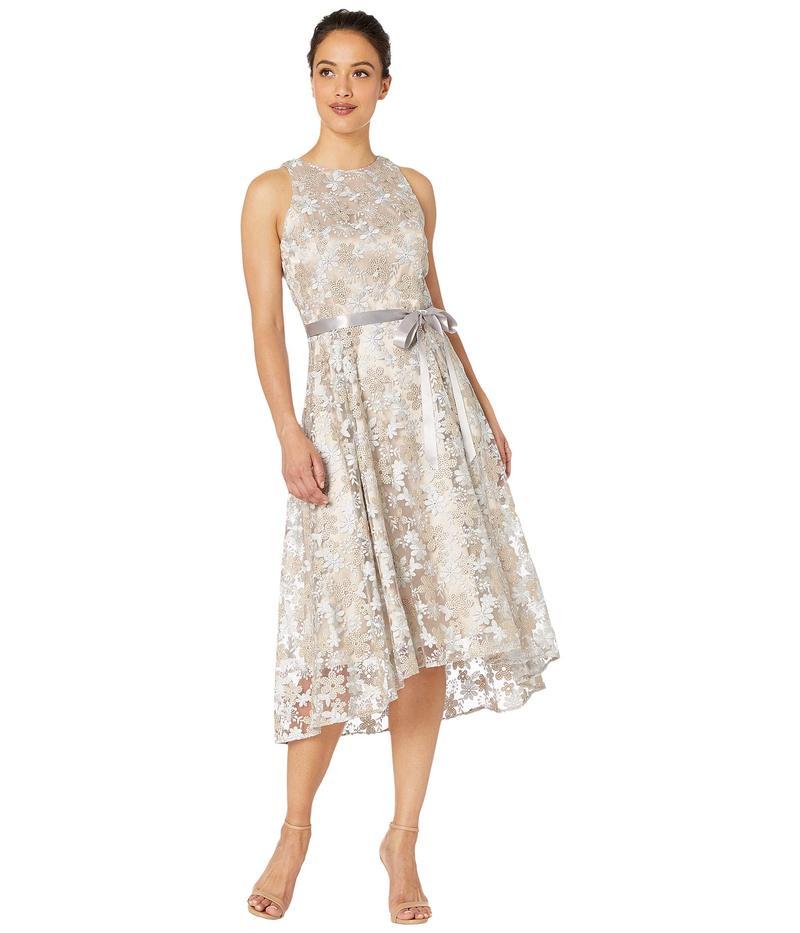 タハリ レディース ワンピース トップス Petite Sleeveless Embroidered High-Low Hem Dress Silver/Champagne