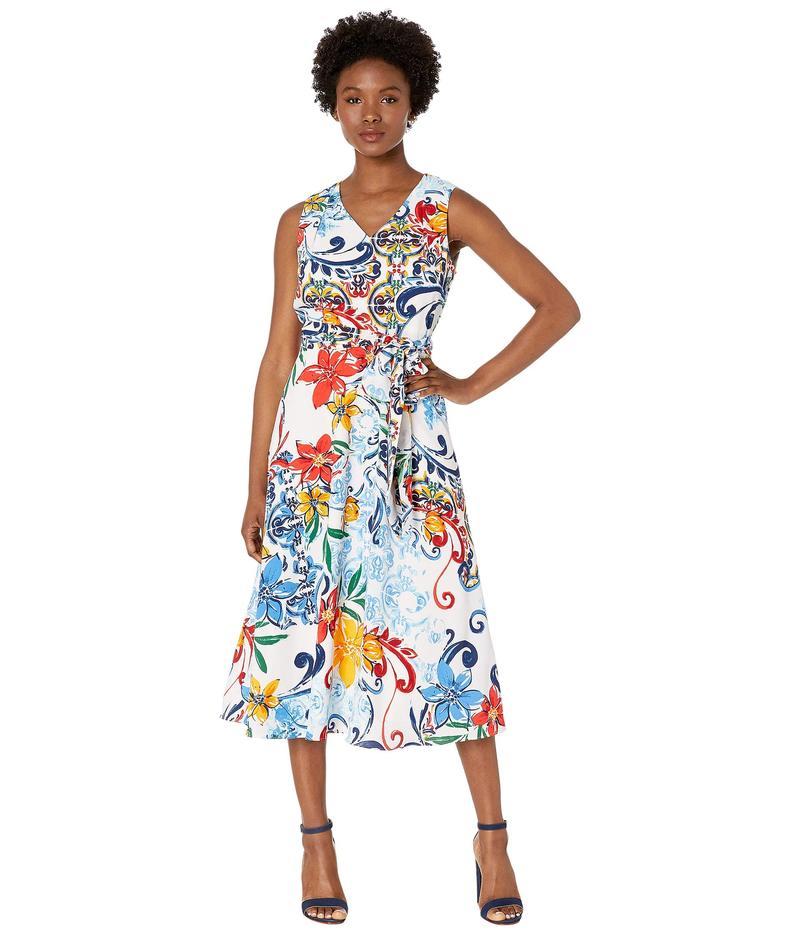タハリ レディース ワンピース トップス Petite Multicolor Pebble Crepe Side Tie Dress Amalfi Tile Print