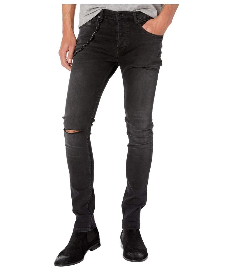 ザ・クープルス メンズ デニムパンツ ボトムス Skinny Jeans with Leather Pocket & Chain in Black Washed Black Washed
