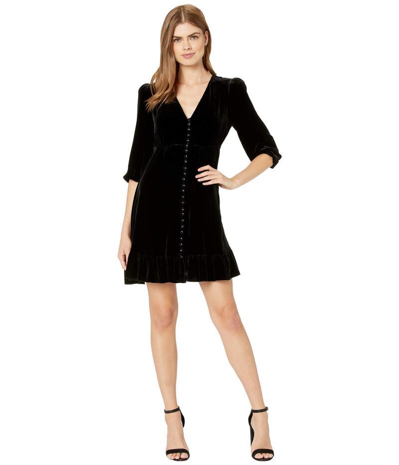 ザ・クープルス レディース ワンピース トップス Long-Sleeved, Button Down Velvet Dress Black