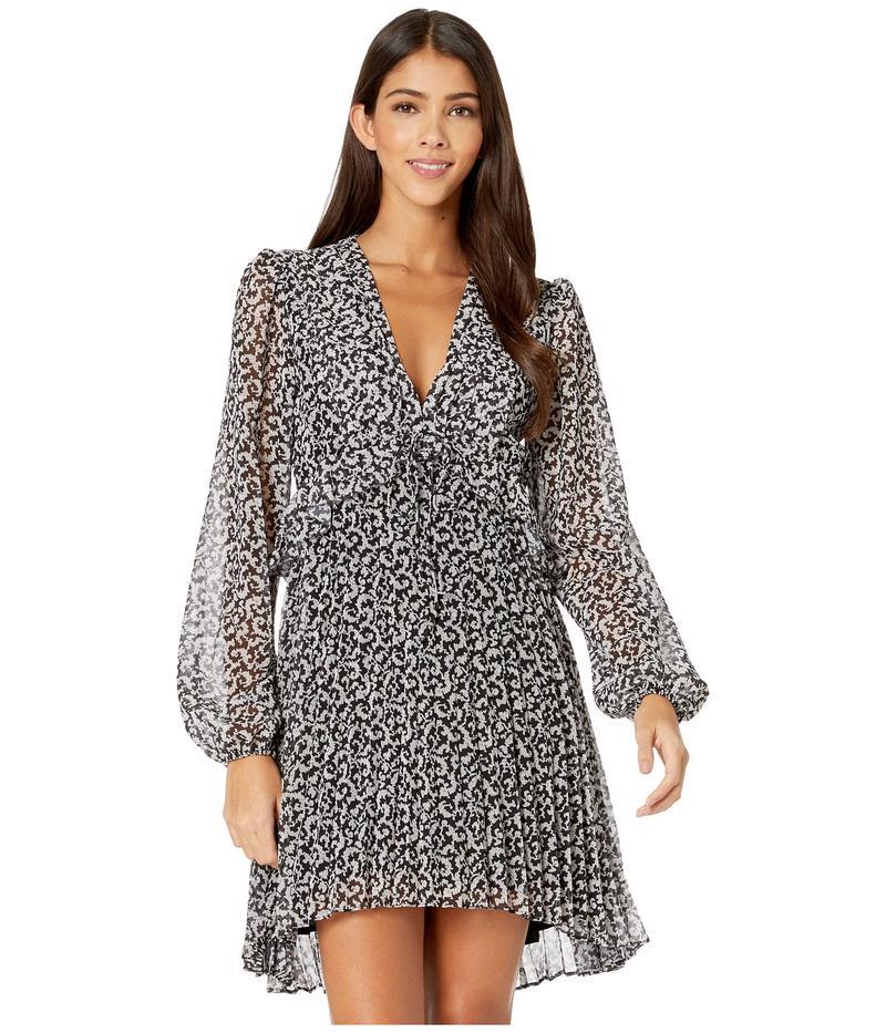 ザ・クープルス レディース ワンピース トップス Long-Sleeved, Short Dress with Pleated Skirt in a Baroque Print Black/Light Grey