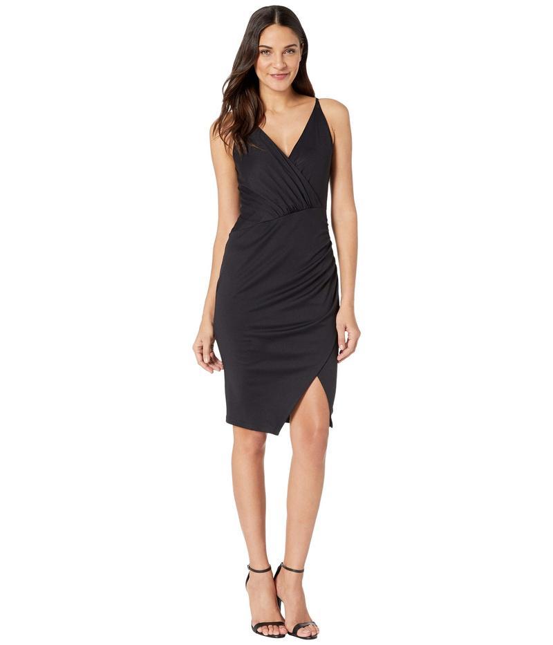 スサナモナコ レディース ワンピース トップス Gathered Wrap Front Slit Dress Black