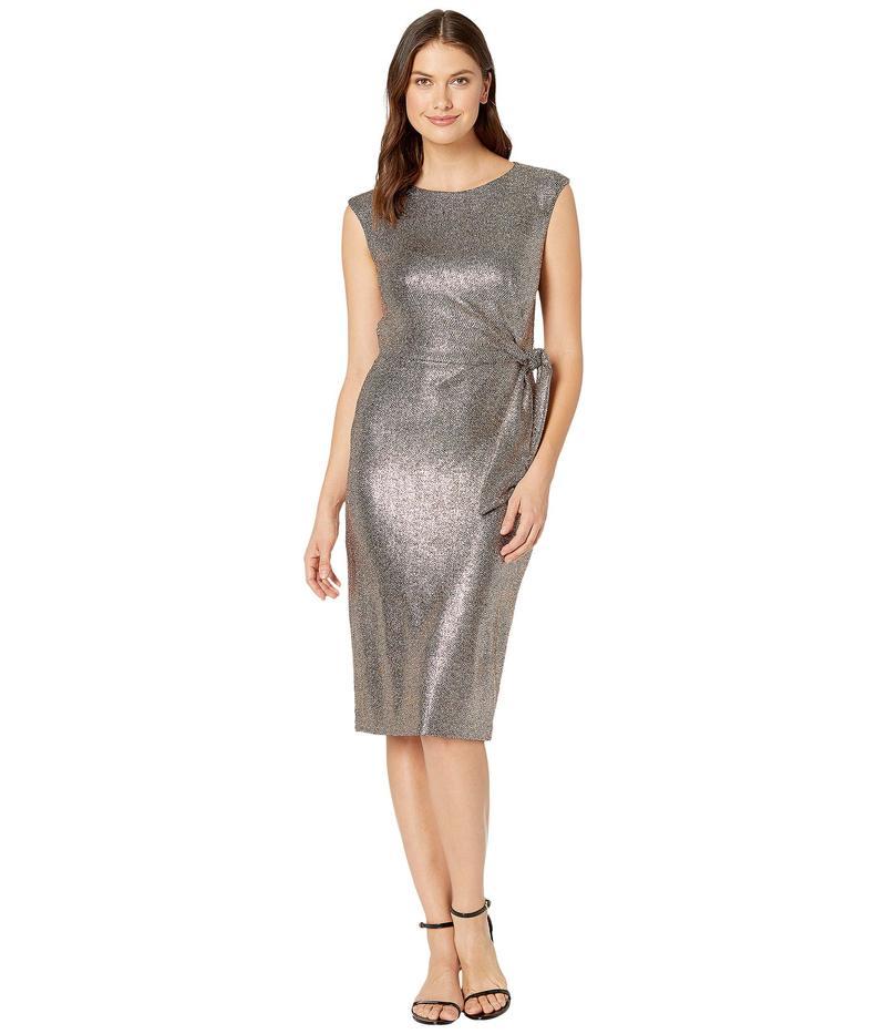 タハリ レディース ワンピース トップス Hammered Stretch Metallic Side Tie Dress Bronze Black
