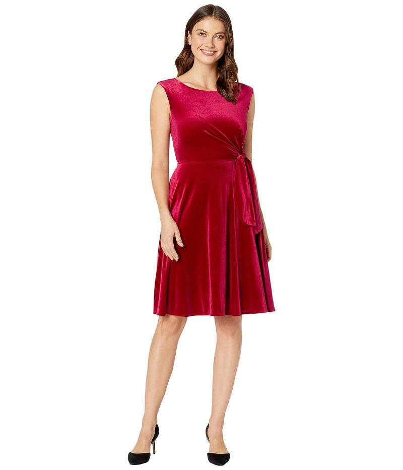 タハリ レディース ワンピース トップス Stretch Velvet Side Tie Dress Ruby