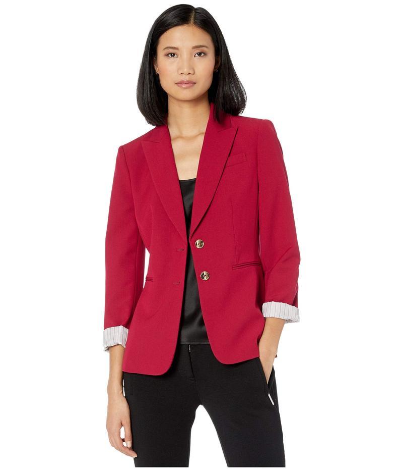 タハリ レディース コート アウター Two-Button Jacket w/ Roll Sleeve Cherry Red
