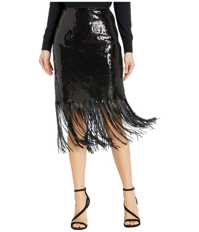 ヴィンスカムート レディース スカート ボトムス Fringe Sequin Side Zip Skirt Rich Black