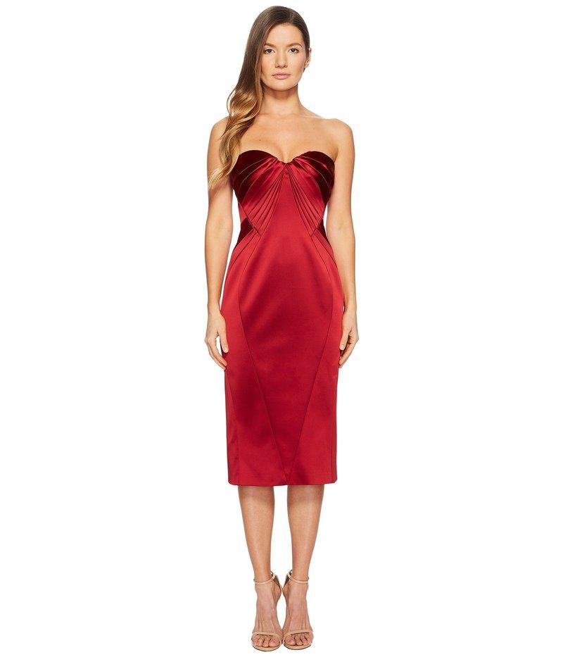 ザックポーゼン レディース ワンピース トップス Sleeveless Sweetheart Stretch Satin Dress Cardinal Red