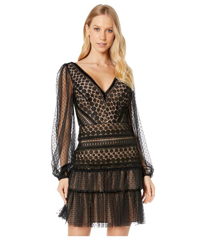 ビーシービージーマックスアズリア レディース ワンピース トップス Long Sleeve Lace Cocktail Dress Black
