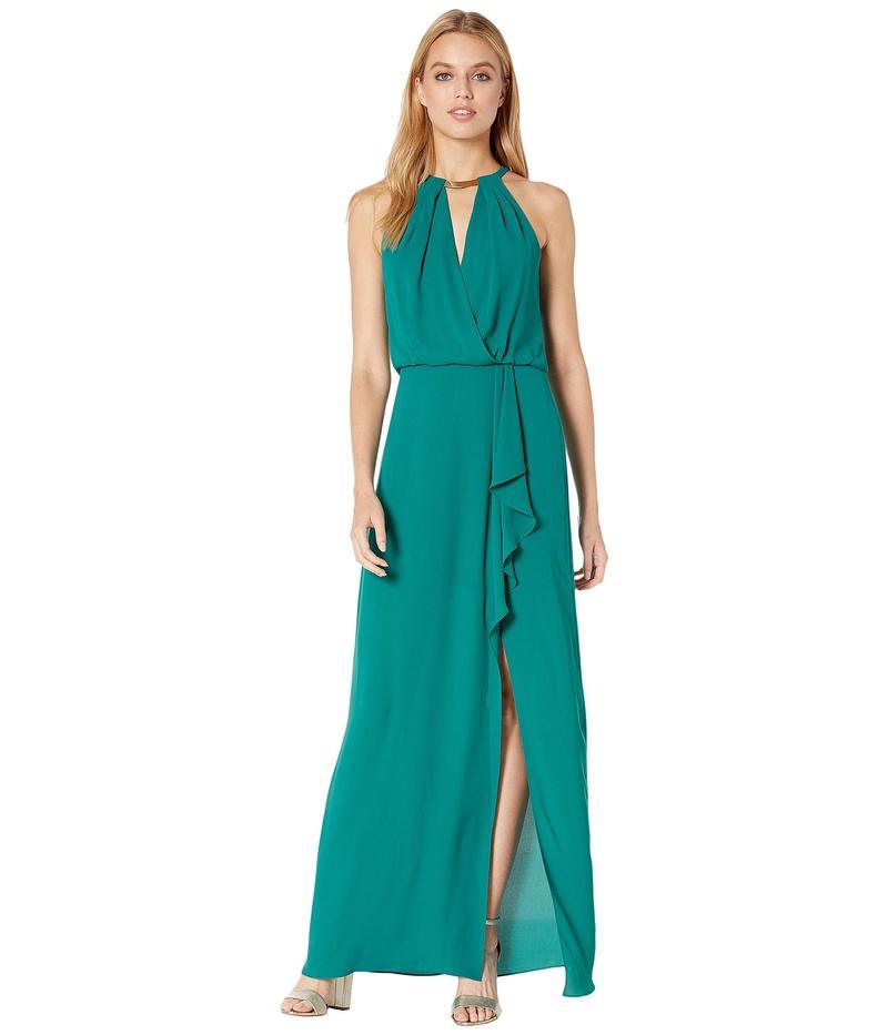 ビーシービージーマックスアズリア レディース ワンピース トップス Halter Gown with Metallic Braided Detail Shaded Spruce