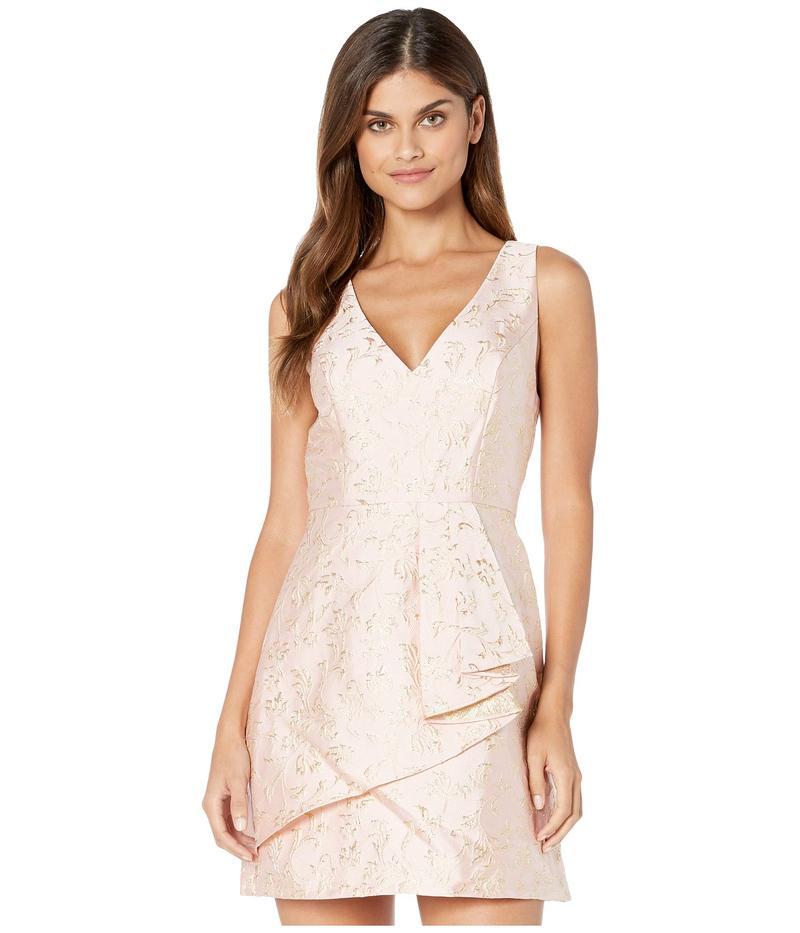 ビーシービージーマックスアズリア レディース ワンピース トップス V-Neck Metallic Jacquard A-Line Dress Bare Pink