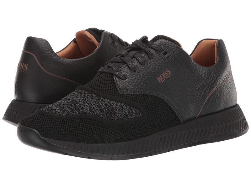 ヒューゴボス メンズ スニーカー シューズ Titanium Run Sneakers by BOSS Black