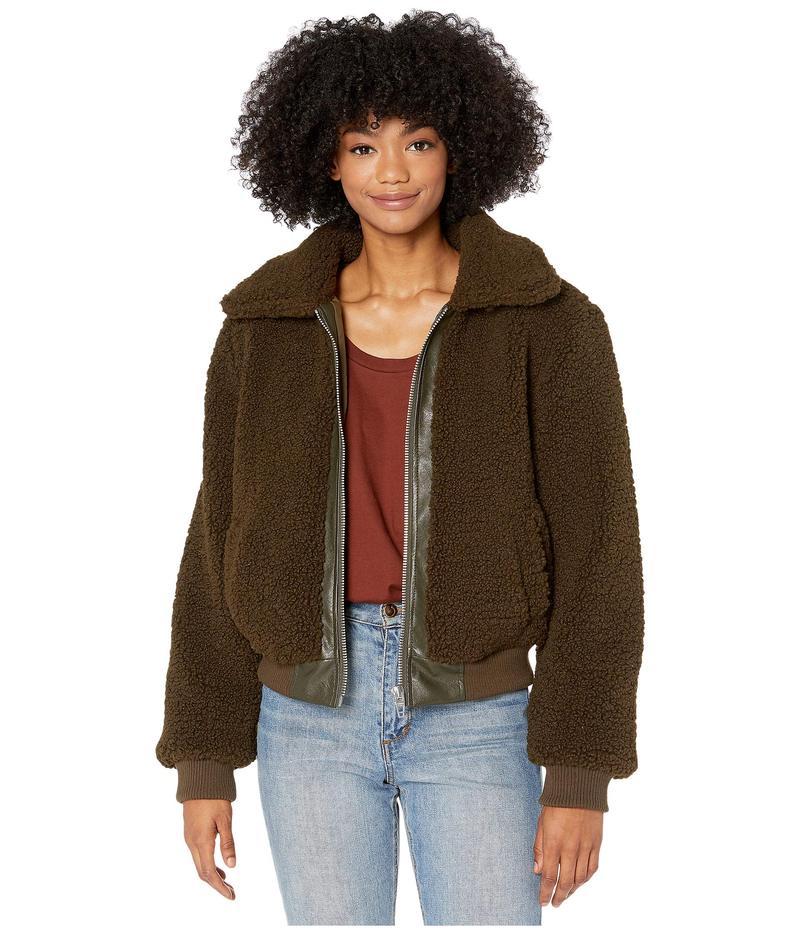 送料無料 サイズ交換無料 ブランクニューヨーク レディース アウター コート Dark Matcha Faux Crop Center Jacket 直輸入品激安 with Leather ついに再販開始 Sherpa