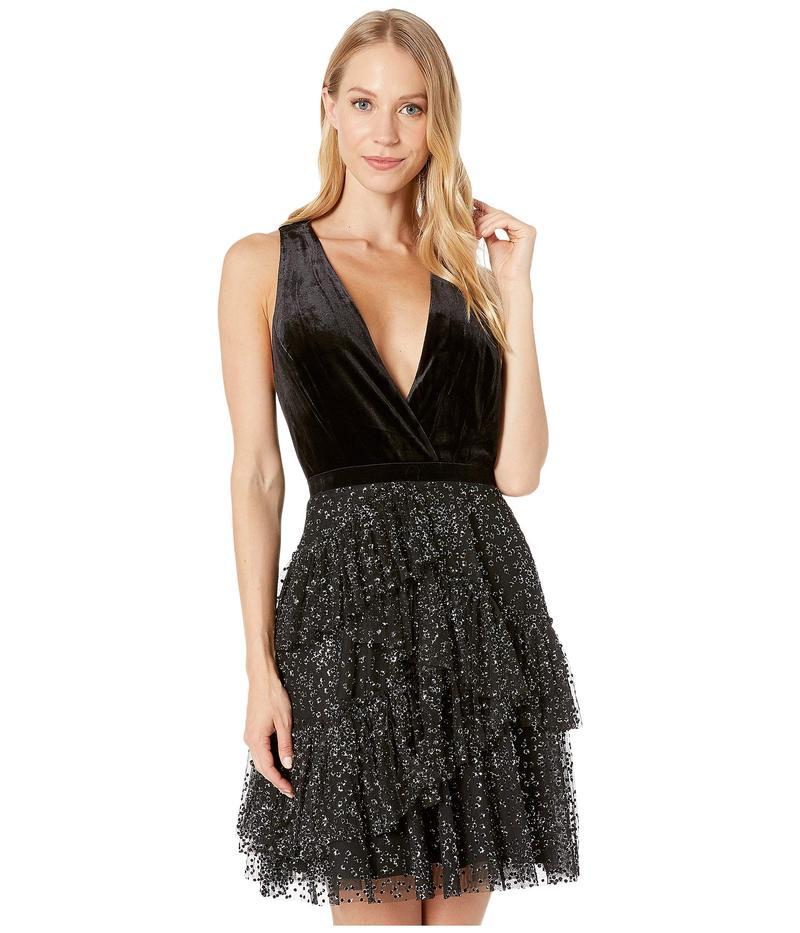ビーシービージーマックスアズリア レディース ワンピース トップス Velvet Halter Cocktail Dress with Tulle Skirt Black
