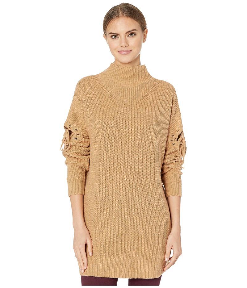 ビーシービージーマックスアズリア レディース ニット・セーター アウター Turtleneck Sweater with Lace-Up Detail Camel