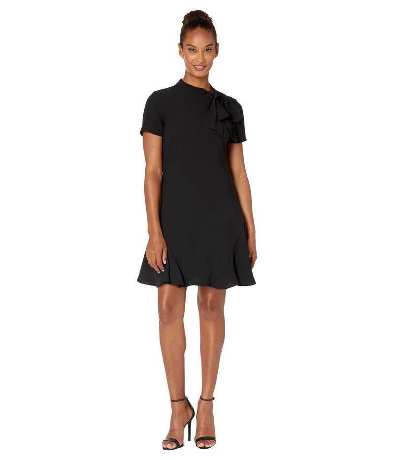 セセ レディース ワンピース トップス Short Sleeve A-Line Dress with Bow Rich Black
