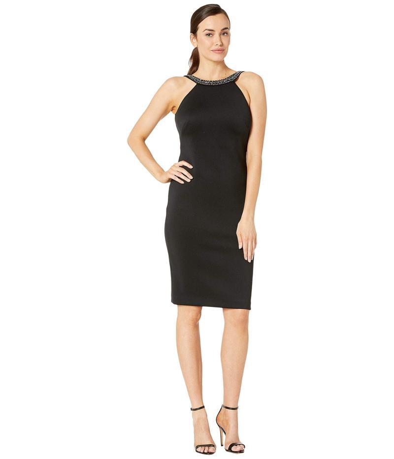 カルバンクライン レディース ワンピース トップス Sheath Dress with Embellished Neck Black