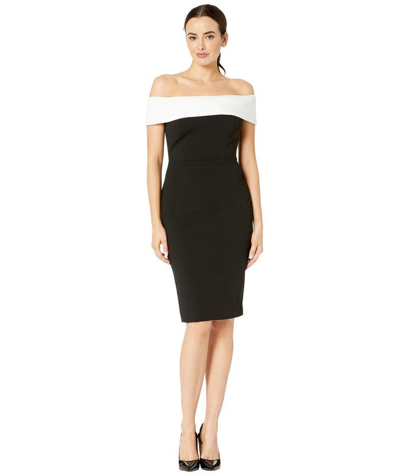 カルバンクライン レディース ワンピース トップス Off-the-Shoulder Color Block Sheath Dress Black/Cream