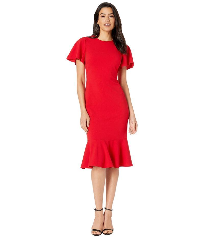 カルバンクライン レディース ワンピース トップス Short Sleeve Ruffle Hem Dress Red