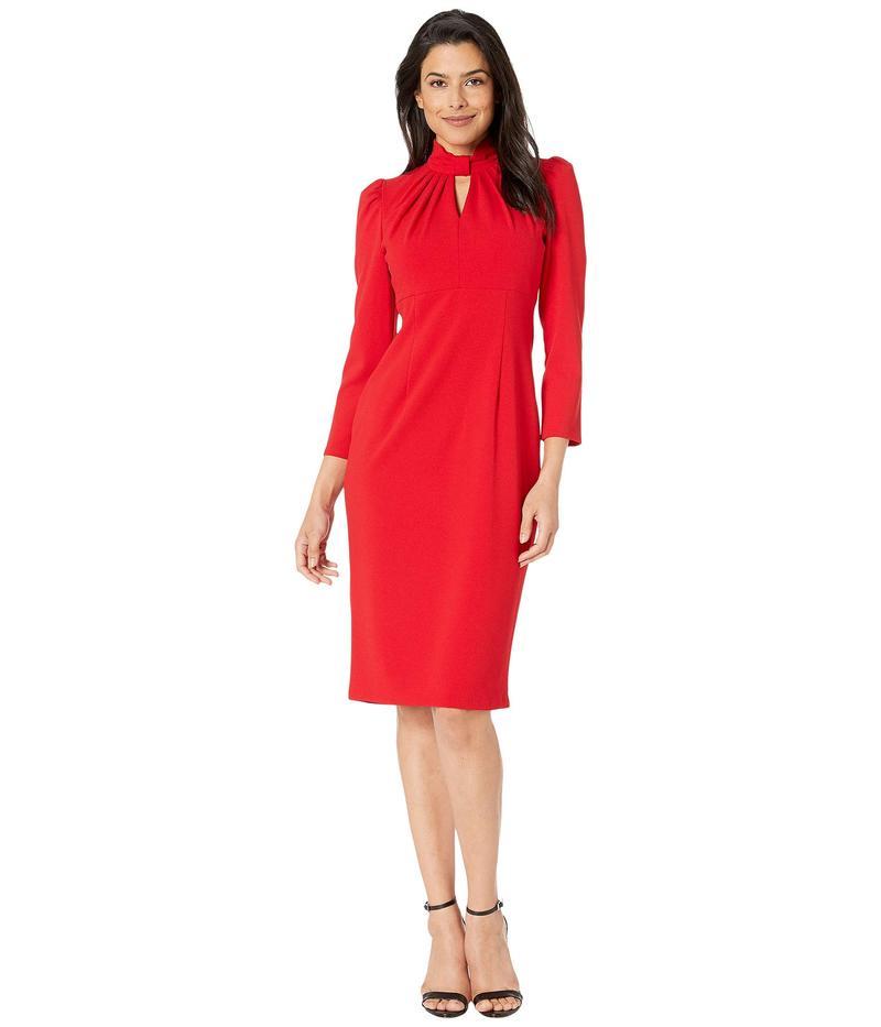 カルバンクライン レディース ワンピース トップス 3/4 Sheath Dress with Keyhole Red