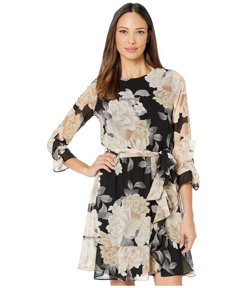 カルバンクライン レディース ワンピース トップス Long Sleeve Dress with Ruffle and Belt Black/Latte Multi