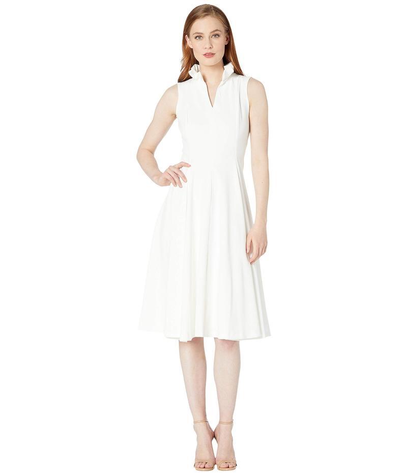カルバンクライン レディース ワンピース トップス Ruffle Neck A-Line Dress Cream