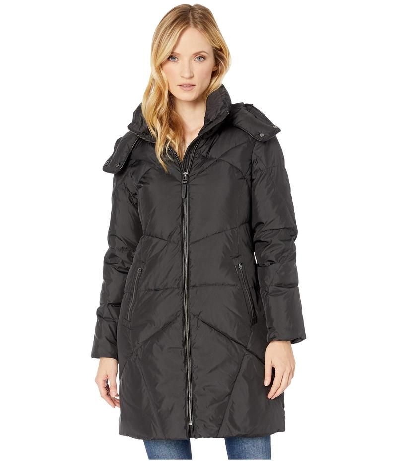 コールハーン レディース コート アウター Down Coat w/ Intricate Angular Quilt Stitching and Removable Hood Black