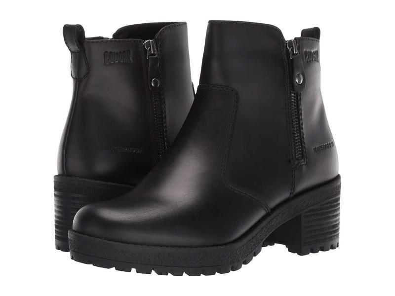 クーガー レディース ブーツ・レインブーツ シューズ Dayton Waterproof Black Leather
