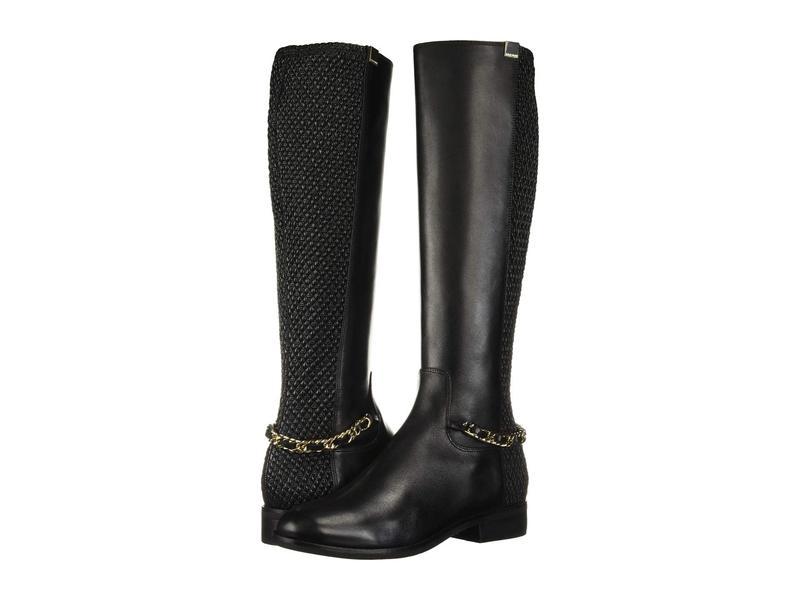 コールハーン レディース ブーツ・レインブーツ シューズ Idina Stretch Boot Black Leather/Tonal Stretch Quilt/Black Semi Shine Stack