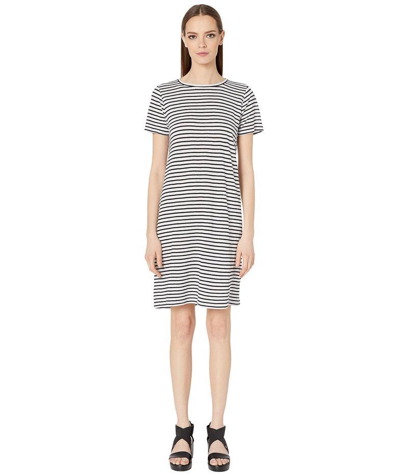 エイリーンフィッシャー レディース ワンピース トップス Organic Linen Jersey Stripe Round Neck Dress White/Black