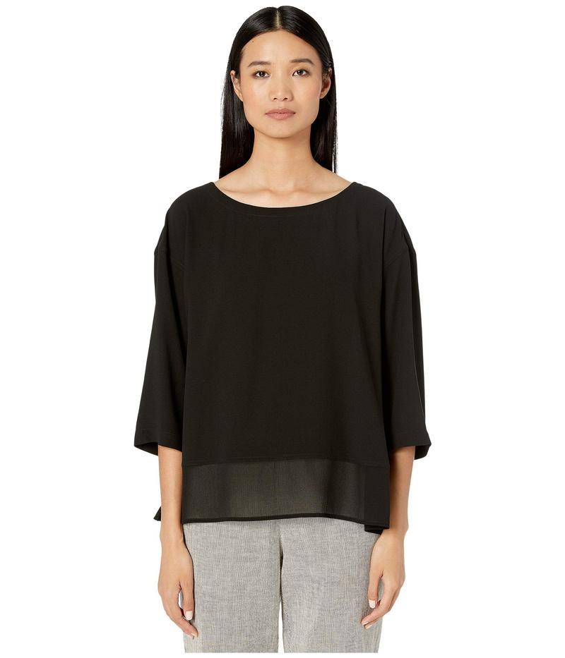 エイリーンフィッシャー レディース シャツ トップス Silk Georgette Crepe Bateau Neck 3/4 Sleeve A-Line Top w/ Sheer Silk Black