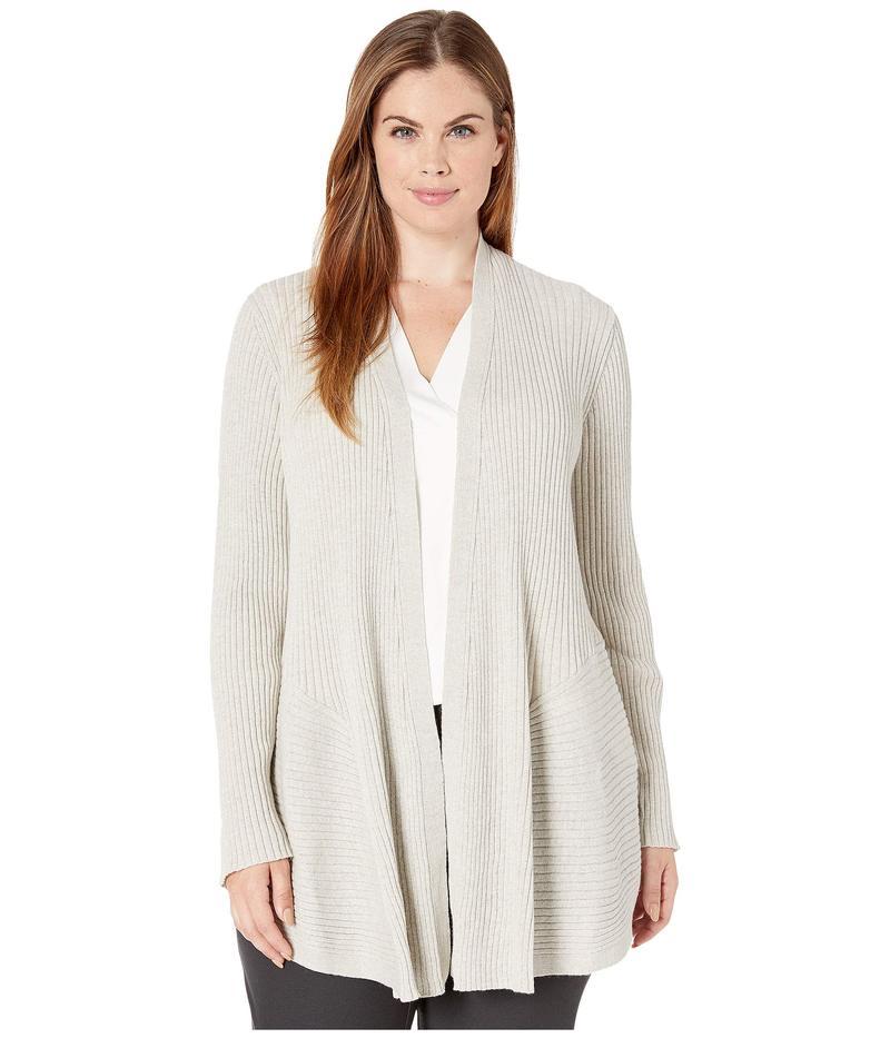 エイリーンフィッシャー レディース ニット・セーター アウター Plus Size Washable Wool Rib Long Cardigan Sea Salt