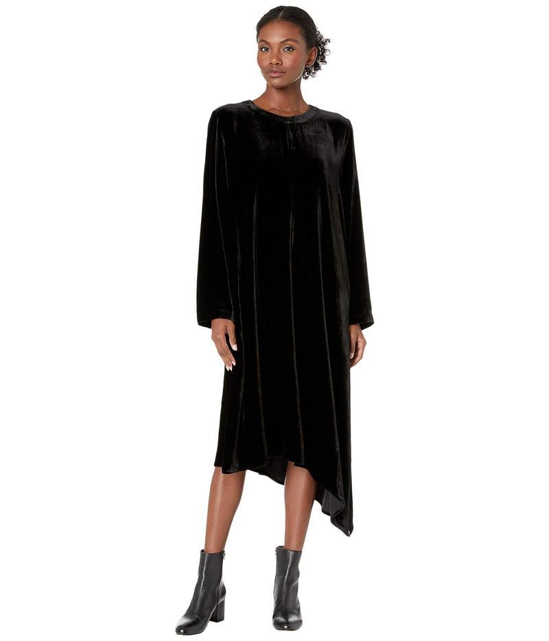 エイリーンフィッシャー レディース ワンピース トップス Velvet Crew Neck Dress Black