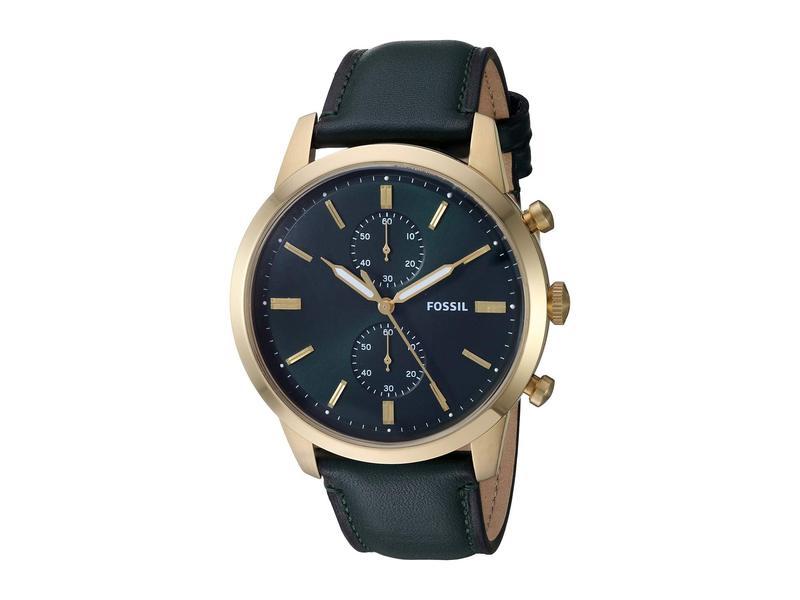 フォッシル メンズ 腕時計 アクセサリー Townsman Chronograph Watch FS5599 Gold Dark Green Leather