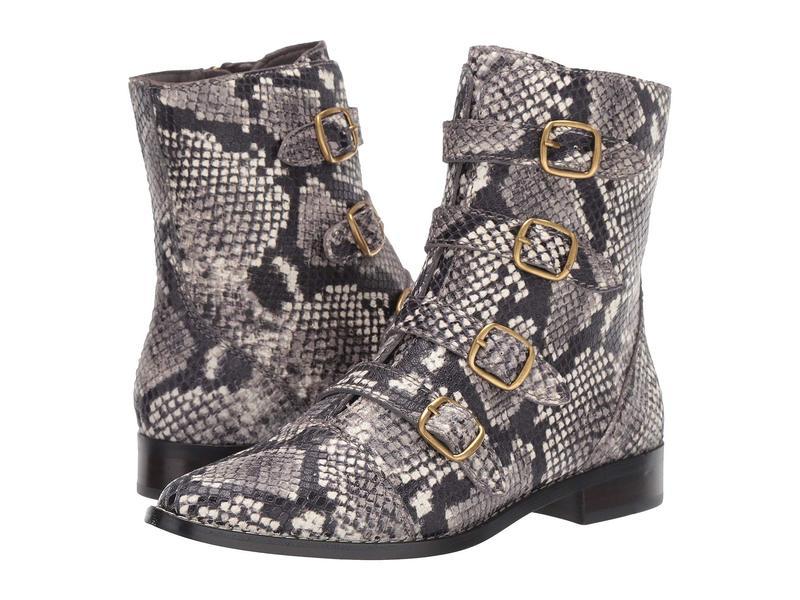 ジェイクルー レディース ブーツ・レインブーツ シューズ Leather Multi Buckle Troy Boot Embossed Snake Ivory/Black