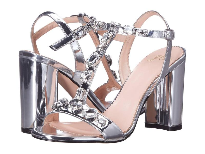 ジェイクルー レディース ヒール シューズ Metallic Jeweled Strap Stella Sandal Silver Mirror