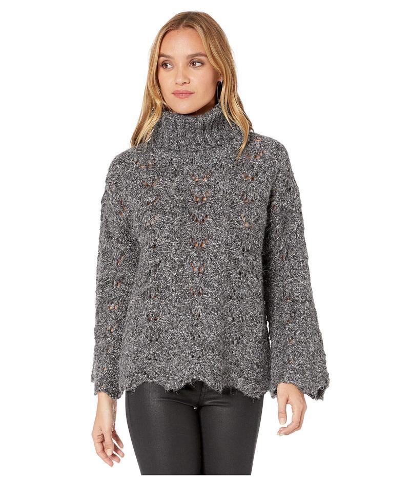 ケンジー レディース ニット・セーター アウター Twisted Fuzzy Yarn Sweater KSDK5956 Charcoal Combo