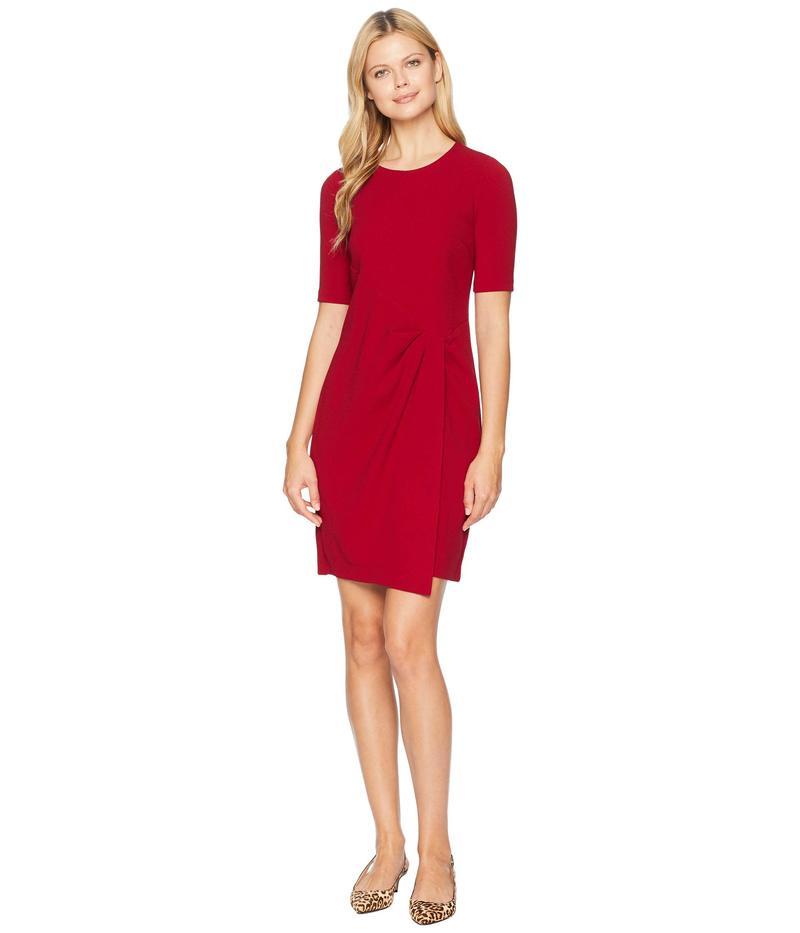 マギーロンドン レディース ワンピース トップス Metro Knit Jewel Neck Wrap Front Sheath Dress Red