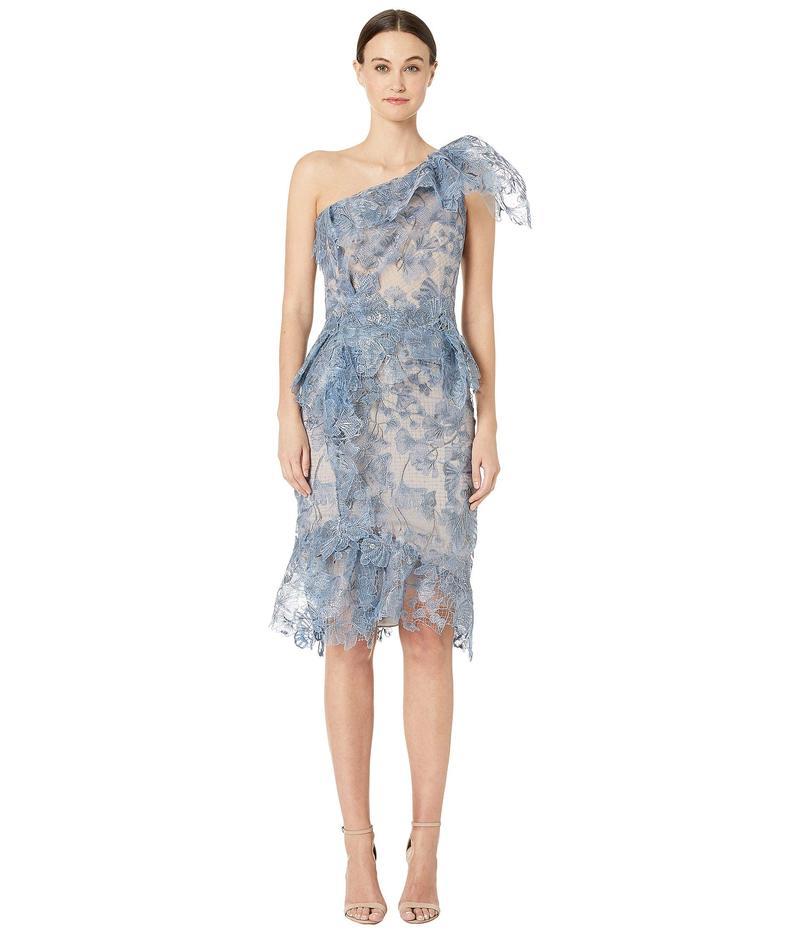 マルケッサ レディース ワンピース トップス One Shoulder Printed Lace Cocktail Dress Periwinkle