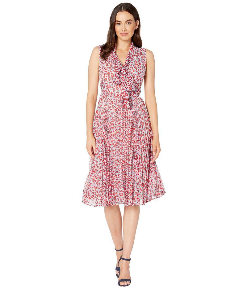マギーロンドン レディース ワンピース トップス Animal Spot Printed Chiffon Fit and Flare Dress Soft White/Red