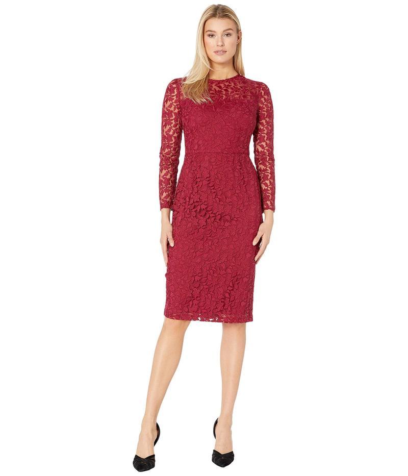 マギーロンドン レディース ワンピース トップス Leaf flower Embroidery Novelty Sheath Dress Cranberry