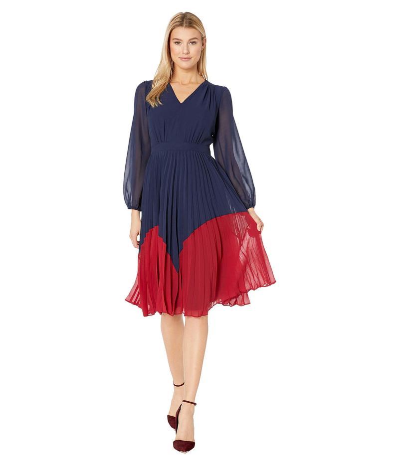 マギーロンドン レディース ワンピース トップス Solid Chiffon Color Block Fit and Flare Dress Navy/Majestic Scarlet