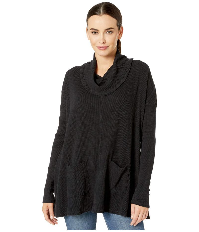モッドドック レディース ニット・セーター アウター Vintage Slub Thermal Long Sleeve Swingy Cowl Neck Pullover Black